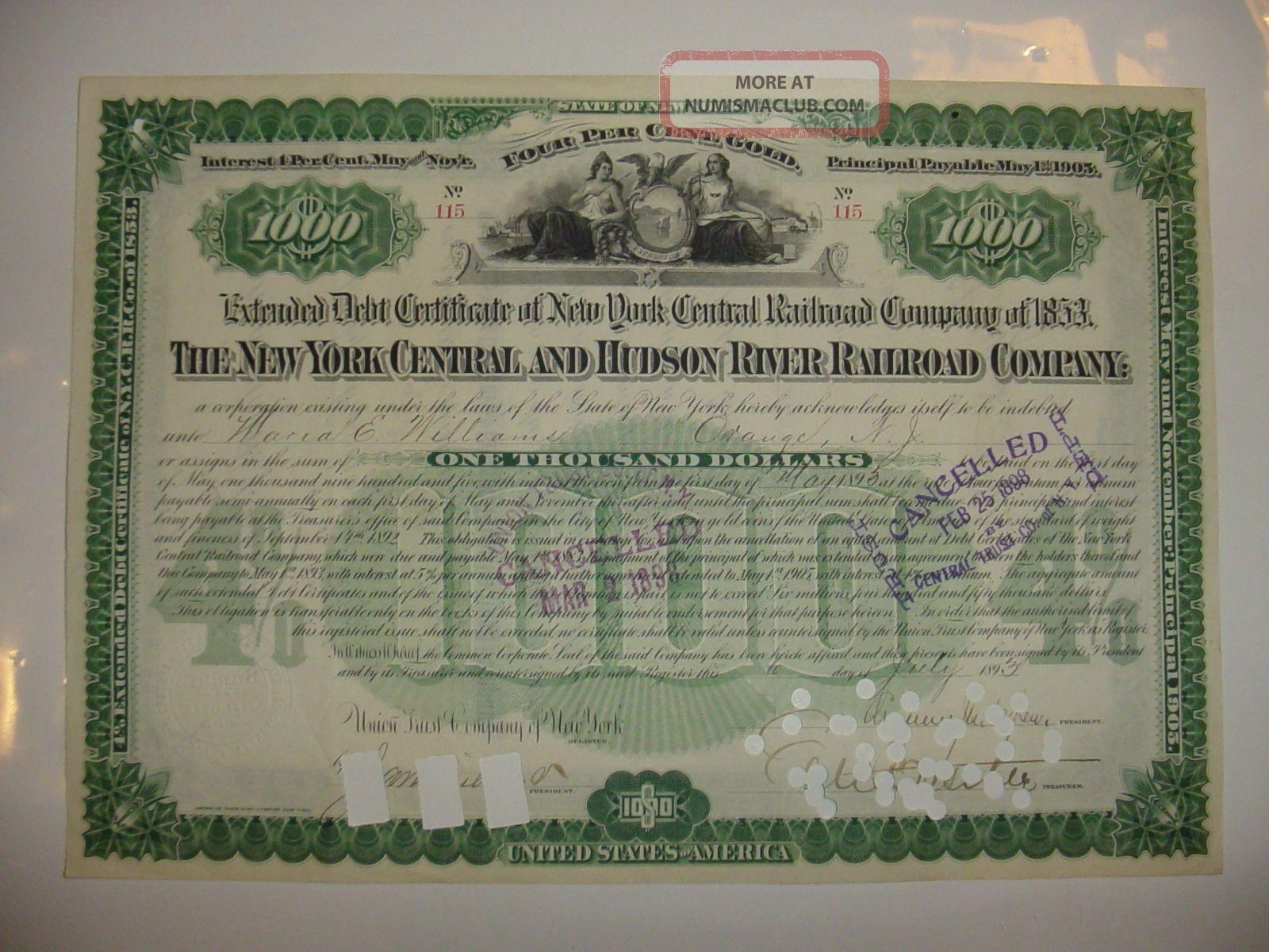 York Central & Hudson River Railroad Company Bond Stock Certificate Depew Transportation photo