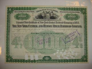 York Central & Hudson River Railroad Company Bond Stock Certificate Depew photo