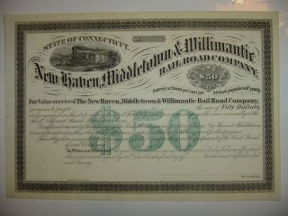 1870 Haven Middletown & Willimantic Railroad Company Bond Stock Certificate photo