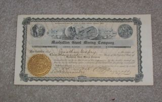 Manhatten Giant Mining Company Stock Certificate 1907 photo
