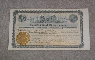 Manhatten Giant Mining Company Stock Certificate 1907 photo
