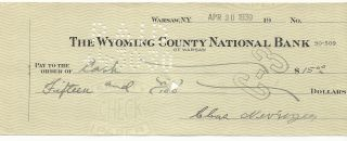 Usa - 1930 - The Wyoming County National Bank - Check 15 Dollars photo