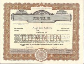 Bidbay.  Com,  Inc.  5 Share Stock Certificate,  June 13,  2000 photo