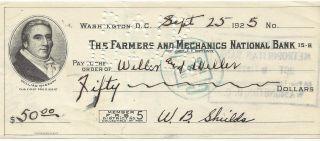 Usa - 1925 - The Farmers And Mechanics National Bank - Check 50 Dollars photo