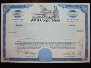 Amr Corp.  (american Airlines) Stock Certificate photo