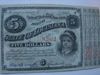 Louisiana Baby Bond $5 With Coupons Uncirculated photo