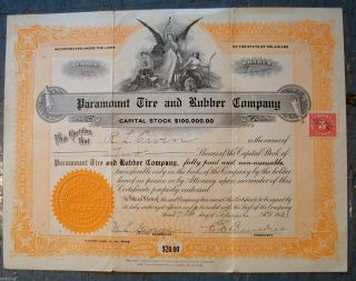1921 Paramount Tire & Rubber Co.  Stock Certificate - Delaware Inc 956 Ship photo