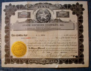 1922 Texas Refining Co.  Inc.  Stock Certificate Dallas,  Texas 50 Shares Ship photo