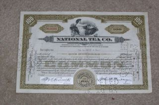 National Tea Company Stock Certificate 1942 photo