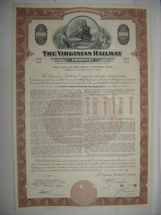 Virginian Railway Company Bond Stock Certificate Norfolk Western photo