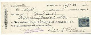 Usa - 1911 - Scranton Savings Bank - Check 5700 Dollars photo