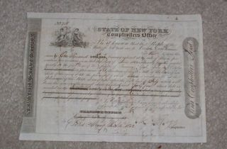 Comptrollers Bond State Of York 1842 A Flagg Signed photo