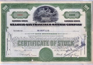 St.  Louis San Francisco Railway Stock Certificate Railroad Frisco Green Missouri photo