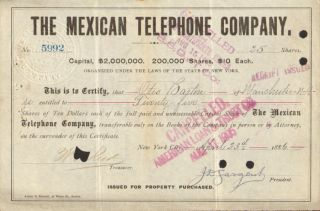 The Mexican Telephone Company 1880s Stock Certificate Mexico Share photo