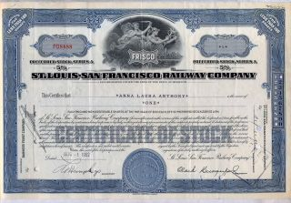 St.  Louis San Francisco Railway Stock Certificate Railroad Frisco Blue Missouri photo