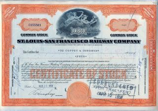St.  Louis San Francisco Railway Stock Certificate Railroad Frisco Missouri photo