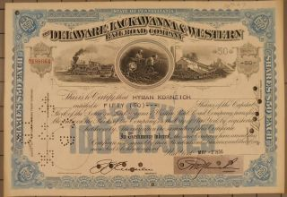 1956 Delaware Lackawanna & Western Railroad Company Stock Certificate photo