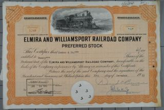 1953 Elmira And Williamsport Railroad Company Stock Certificate photo