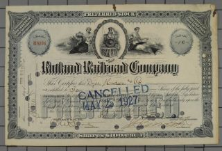 1925 Rutland Railroad Company Stock Certificate photo