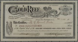 1905 Gold Reef Consolidated Gold & Silver Mining Company Stock Certificate photo