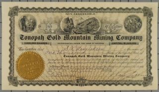1904 Tonopah Gold Mountain Mining Company Key Pittman Signed photo