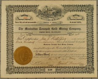 1904 Manhattan Tonopah Gold Mining Company Stock Certificate photo
