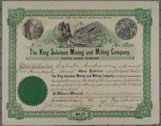1902 King Solomon Mining And Milling Company Stock Certificate photo