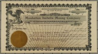 1900 Manhattan Isabella Mining Company Stock Certificate photo