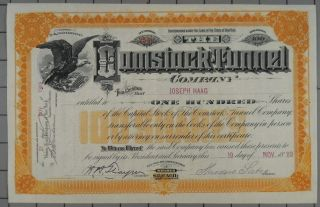 1889 Comstock Tunnel Company Stock Certificate Theodore Sutro Signed photo