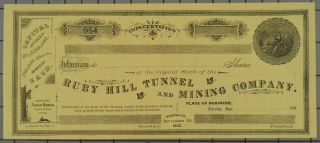 1882 Ruby Hill Tunnel And Mining Company Stock Certificate. photo