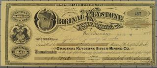 1878 Virginia Keystone Silver Mining Company Stock Certificate photo