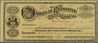 1878 Virginia Keystone Silver Mining Company Stock Certificate photo