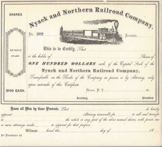 Nyack And Northern Railroad Company. . . .  1800 ' S Unissued Stock Certificate photo