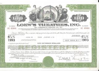 Loew ' S Theatres Inc. . . . . . .  Debenture Due 1993 photo