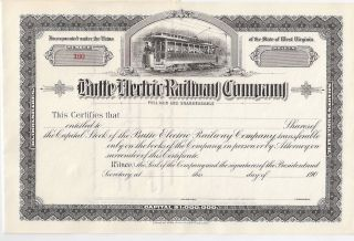 Butte Electric Railway Company. . . .  Early 1900 ' S Unissued Stock Certificate photo