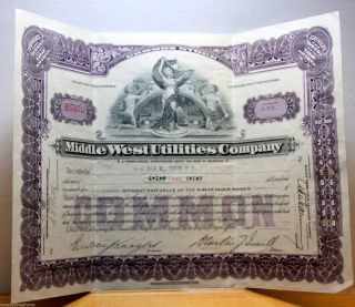 Middle West Utilities Stock Certificate 1931 Issue 5 Shares Fancy Vignette photo