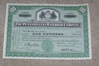 Pennsylvannia Railroad Company Stock Certificate 1947 photo