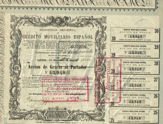 Spain Credit Company Stock Certificate 1875 photo