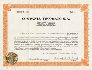 Mexico Compania Yecorato Stock Certificate 1932 photo