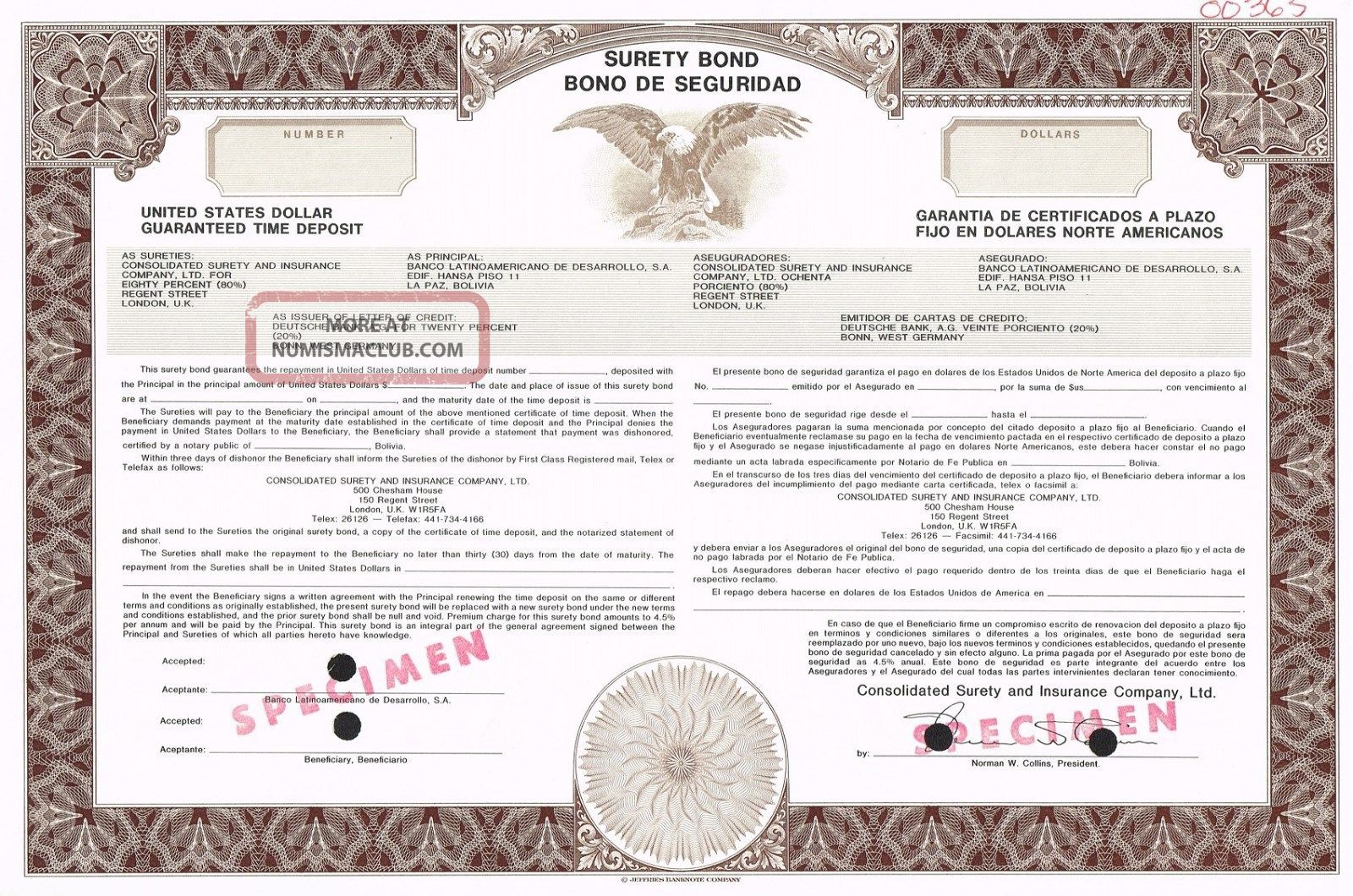 Consolidated Surety & Insurance Company Surety Bond Stock Certificate Specimen World photo