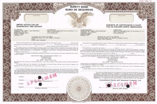 Consolidated Surety & Insurance Company Surety Bond Stock Certificate Specimen photo