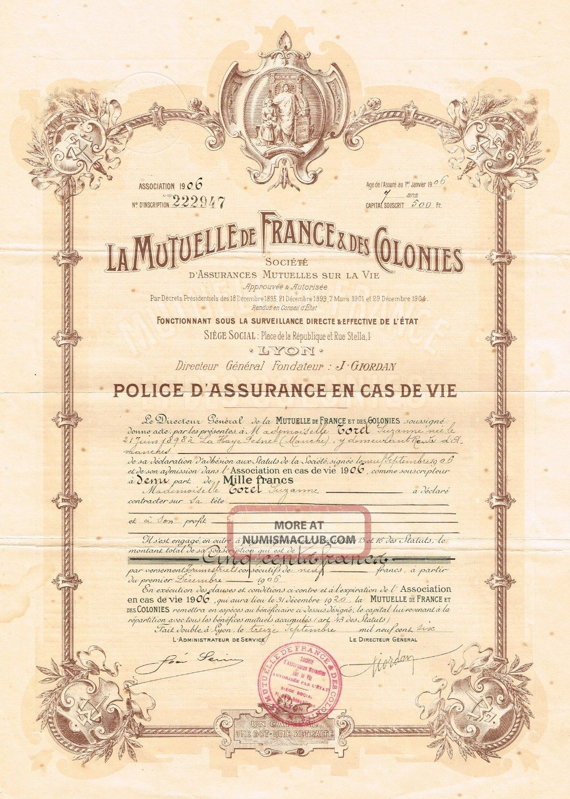 France Mutual Life Isurance Company Certificate 1906 Policy World photo
