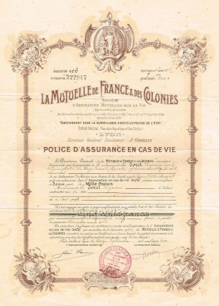 France Mutual Life Isurance Company Certificate 1906 Policy photo