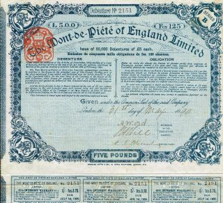 England The Mont - De - Piete Of England Stock Certificate 1890 Pawning photo