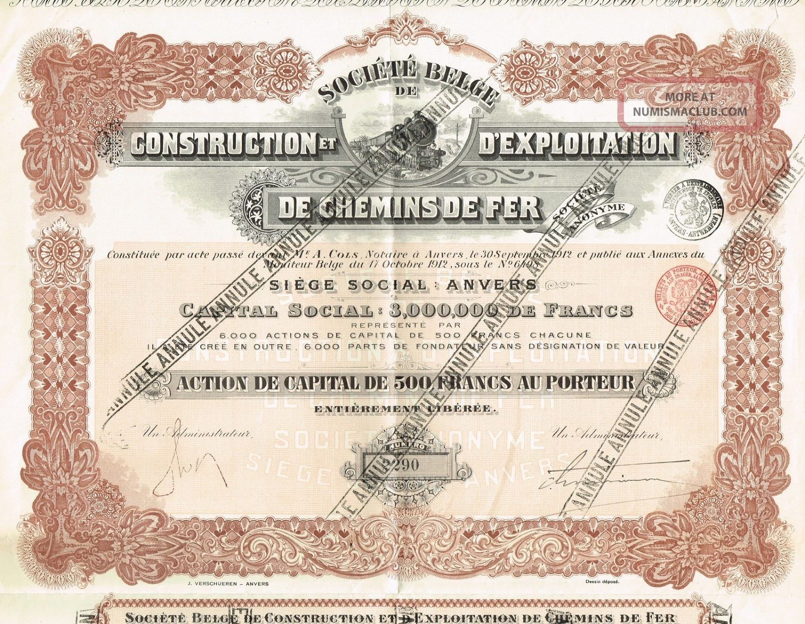 Belgium Railway Construction & Exploration Company Stock Certificate World photo