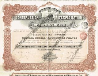 Belgium Railway Construction & Exploration Company Stock Certificate photo