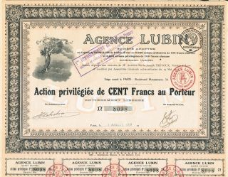 France Agence Lubin Stock Certificate 1919 Travel Agency photo