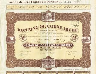 France Domaine De Corne Biche Stock Certificate 1928 photo