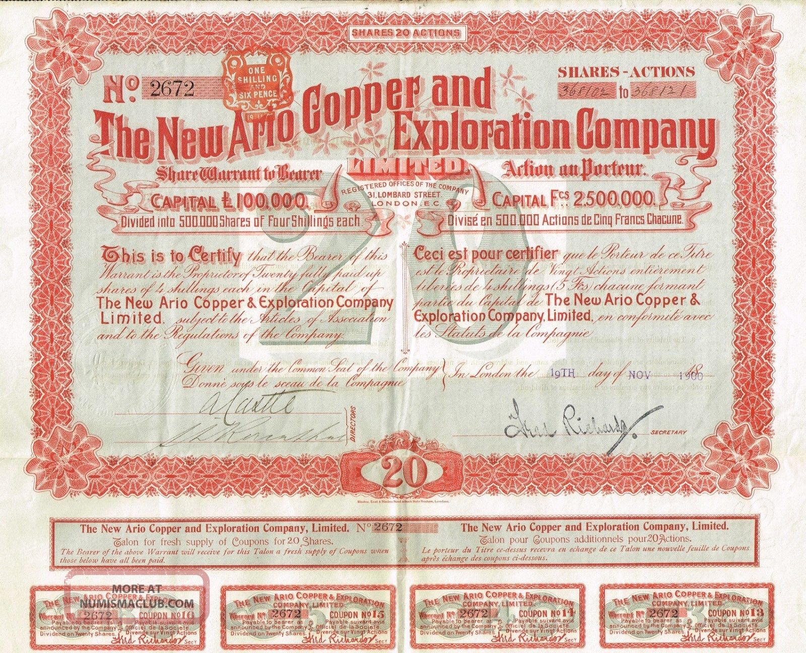 Africa South Africa Ario Copper Company Stock Certificate 1900 With Coupons World photo