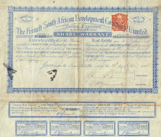South Africa French South African Development Company Stock Certificate 1895 photo